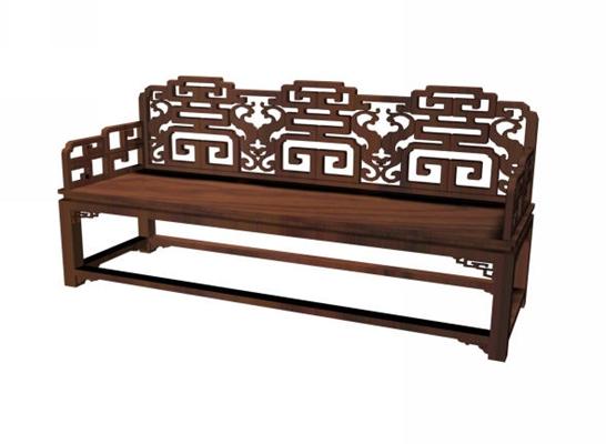传统中式原木色木艺扶手椅3D模型【ID:314980435】