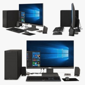 现代台式电脑主机组合3D模型【ID:228424630】