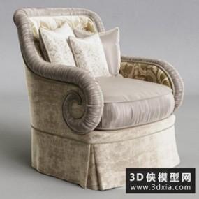 欧式布艺椅子国外3D模型【ID:729312804】