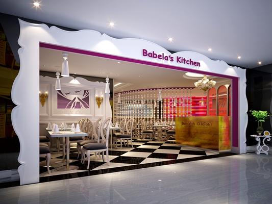 欧式简约快餐厅3D模型【ID:315053916】