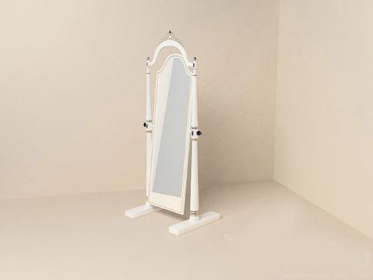 白色铁艺穿衣镜3D模型【ID:315056081】