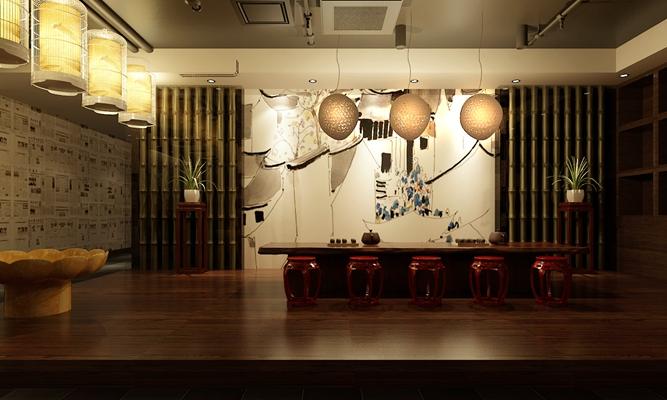 新中式茶室3D模型【ID:315064799】