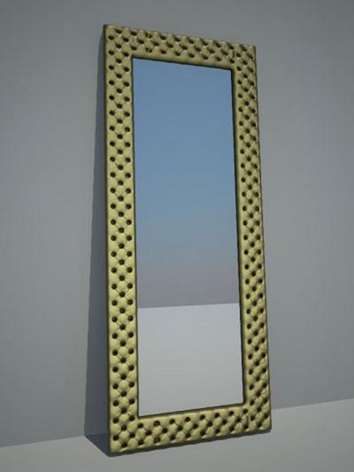 金色长方形穿衣镜3D模型【ID:315066088】