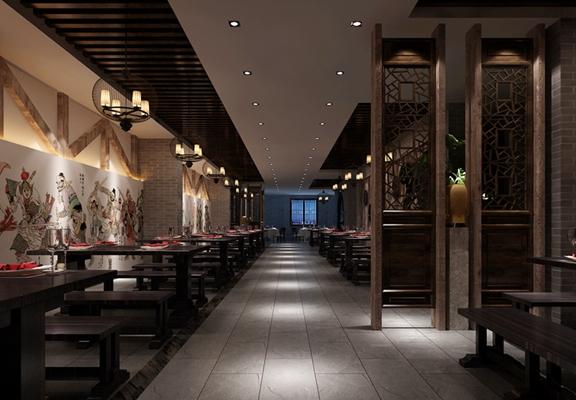 传统中式中餐厅3D模型【ID:315070438】