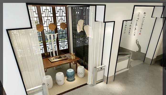 新中式茶室3D模型【ID:315077709】