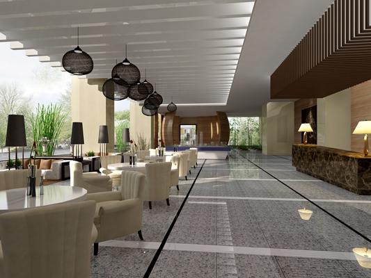 欧式简约现代茶餐厅3D模型【ID:315083148】