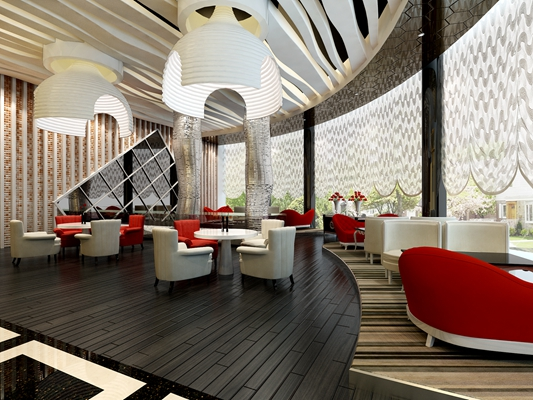 现代茶餐厅3D模型【ID:315085130】