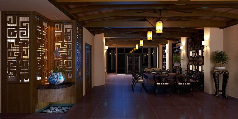 新中式茶餐厅3D模型【ID:315102165】