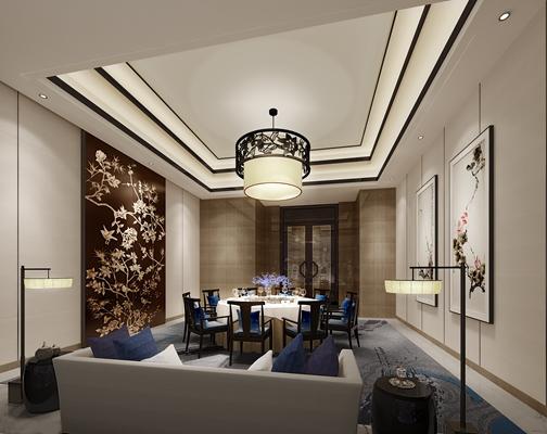 新中式包厢 新中式雕花吊灯 长方形木艺雕花装饰墙