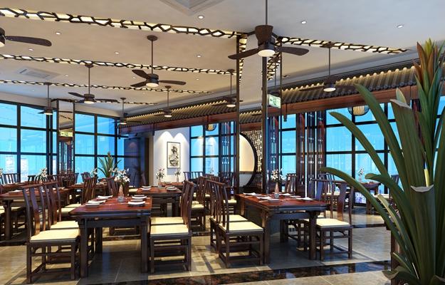 传统中式原木色中餐厅3D模型【ID:315172451】