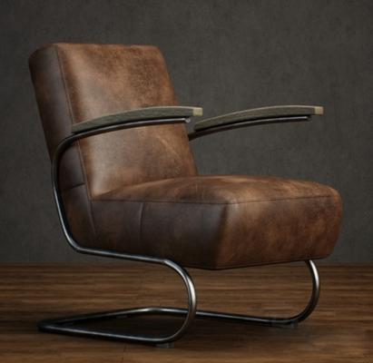美式简约棕色皮质扶手椅3D模型【ID:315178453】