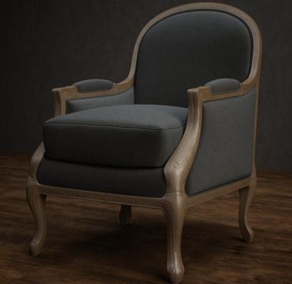 美式简约蓝色布艺扶手椅3D模型【ID:315179411】