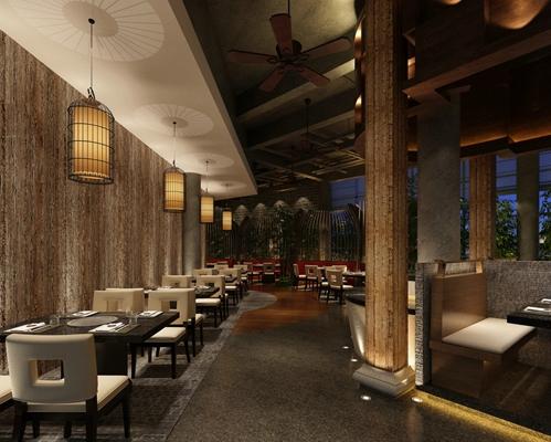 新中式中餐厅3D模型【ID:315180481】