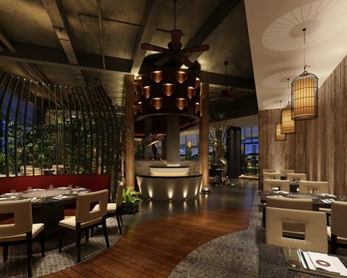 新中式中餐厅3D模型【ID:315181418】