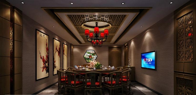 传统中式中餐厅3D模型【ID:315185455】