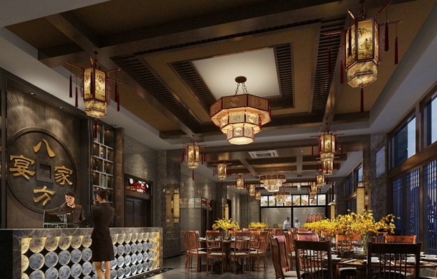 传统中式中餐厅3D模型【ID:315187461】