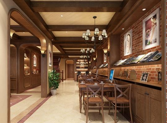 传统美式茶餐厅3D模型【ID:315193107】