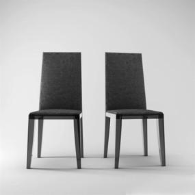 现代黑色布艺餐椅3D模型【ID:315211049】