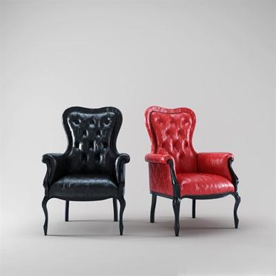 欧式简约红色皮质扶手椅3D模型【ID:315212422】
