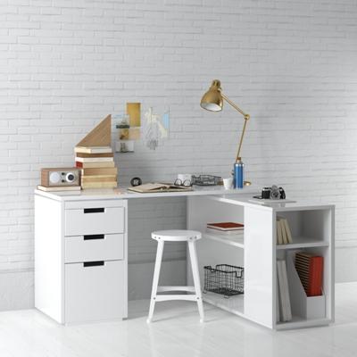现代白色木艺书桌椅组合3D模型【ID:315235740】
