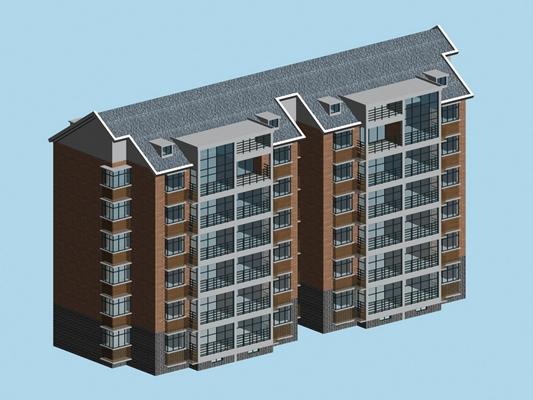 户外多层住宅523D模型【ID:315307869】