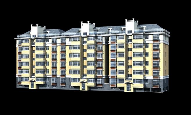 户外多层住宅3233D模型【ID:315312893】