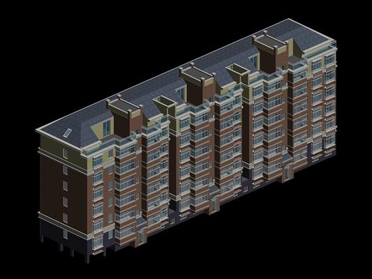 户外多层住宅3453D模型【ID:315313833】