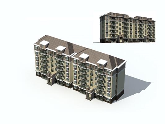 户外多层住宅4713D模型【ID:315315883】