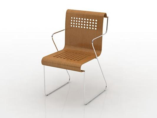 现代棕色木艺扶手椅3D模型【ID:315340477】