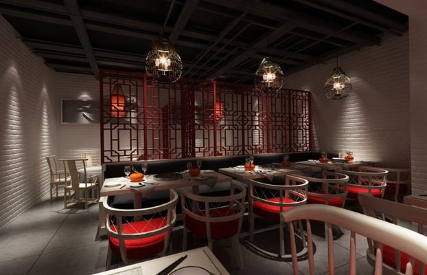 新中式中餐厅3D模型【ID:315398468】