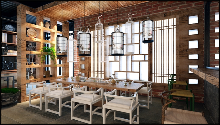 新中式中餐厅3D模型【ID:315400482】