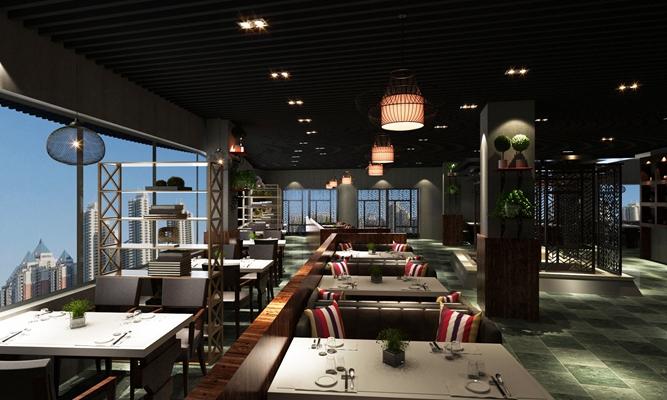 现代中餐厅3D模型【ID:315401489】