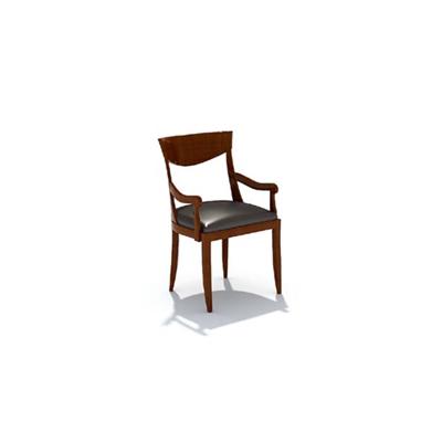 欧式简约棕色木艺扶手椅3D模型【ID:315406420】