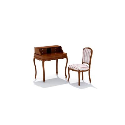 歐式簡約棕色木藝書桌椅組合3D模型【ID:315407710】