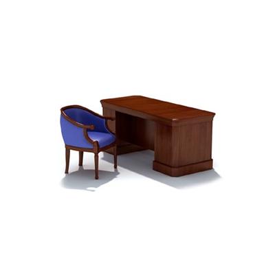 經典歐式棕色木藝書桌椅組合3D模型【ID:315409719】
