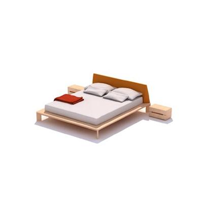现代木艺床具组合3D模型【ID:315458502】