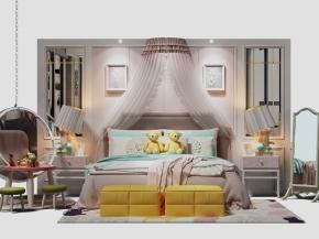 现代床头背景墙双人床床头柜休闲椅3D模型【ID:727808042】
