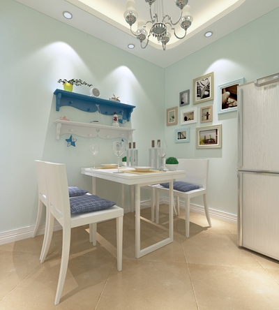 地中海白色木艺餐桌椅组合3D模型【ID:317455466】
