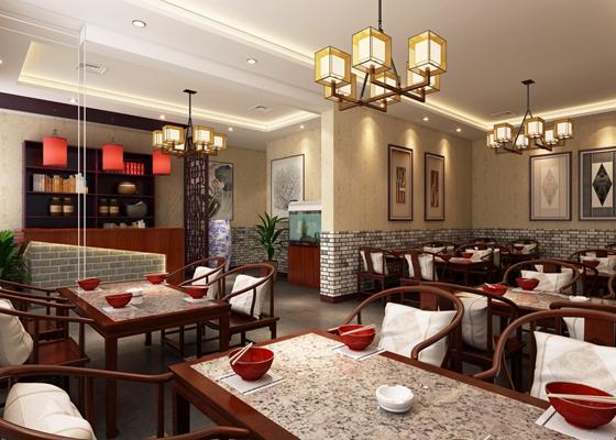 新中式中餐厅3D模型【ID:317461461】