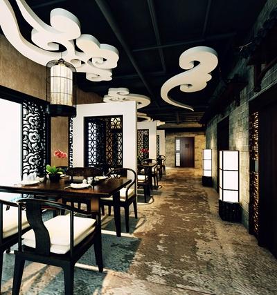 新中式中餐厅3D模型【ID:317465422】