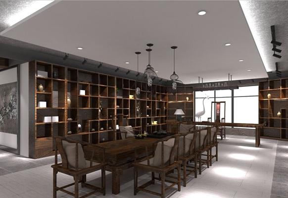 新中式茶室3D模型【ID:317465708】