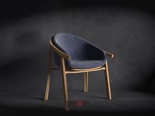 现代棕色木艺扶手椅3D模型【ID:317472420】