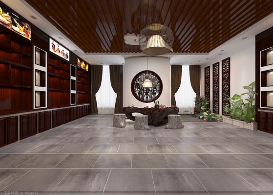 新中式中餐厅3D模型【ID:317475443】