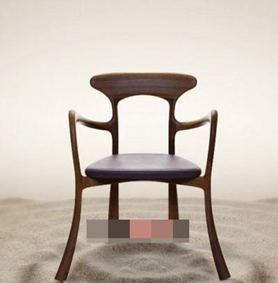 现代棕色木艺扶手椅3D模型【ID:317492400】