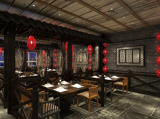 传统中式中餐厅3D模型【ID:317496450】