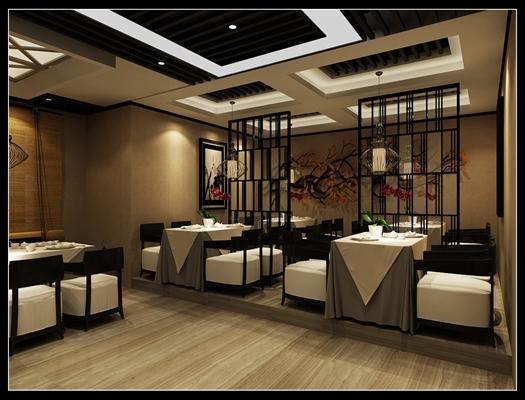 新中式中餐厅3D模型【ID:317498412】