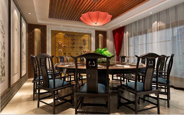 传统中式原木色中餐厅3D模型【ID:317498474】