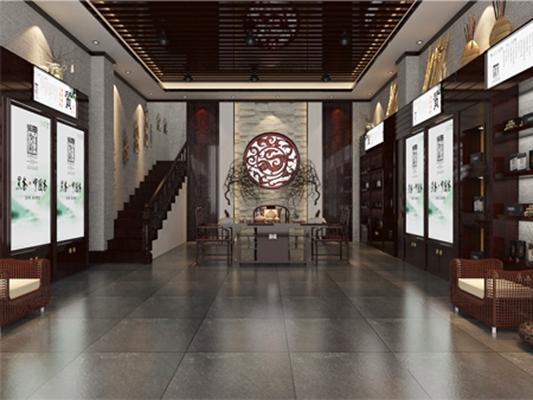 新中式原木色茶室3D模型【ID:317498720】