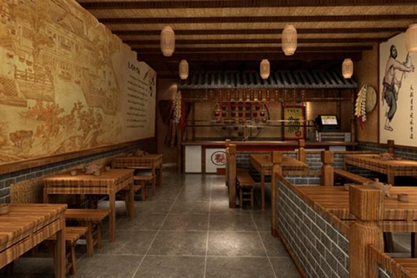 传统中式原木色中餐厅3D模型【ID:317499418】