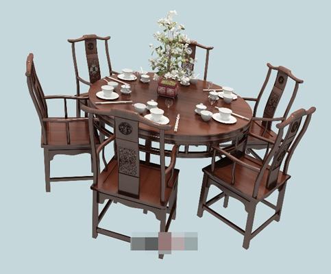 新中式棕色木艺餐桌椅组合3D模型【ID:317501454】